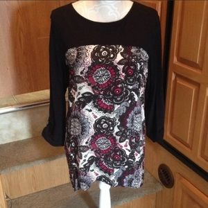 Westbound Red Black Floral Blouse M